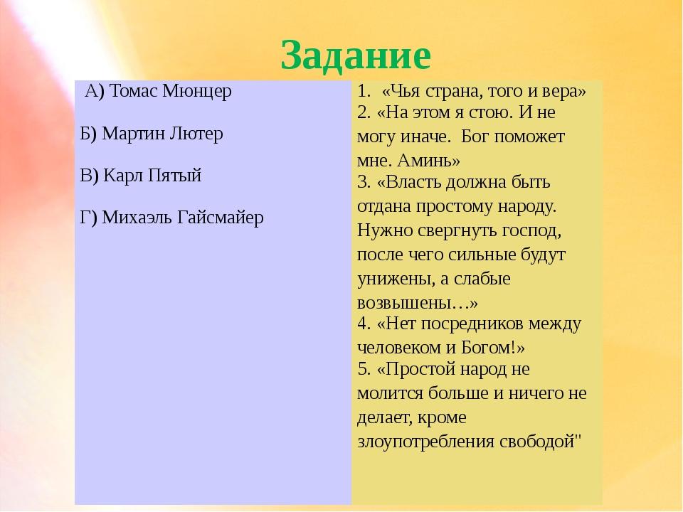Задание А) Томас Мюнцер Б) Мартин Лютер В) Карл Пятый Г) МихаэльГайсмайер 1....