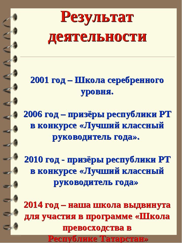Результат деятельности 2001 год – Школа серебренного уровня. 2006 год – приз...