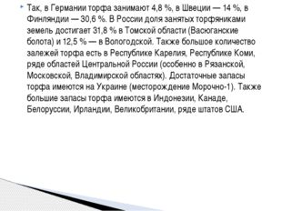 Так, в Германии торфа занимают 4,8%, в Швеции— 14%, в Финляндии— 30,6%.