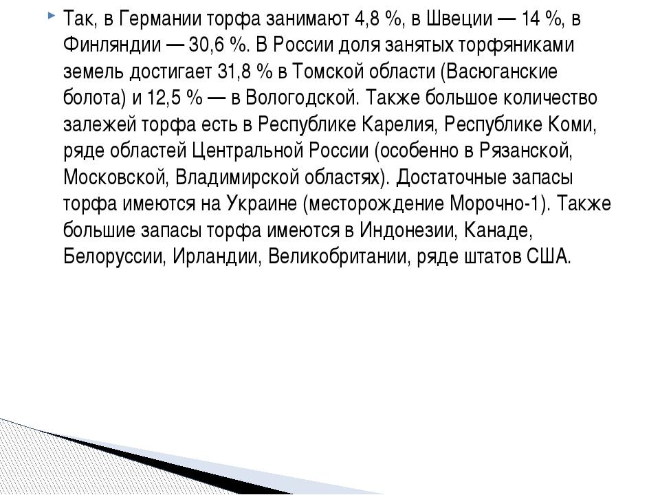 Так, в Германии торфа занимают 4,8%, в Швеции— 14%, в Финляндии— 30,6%....