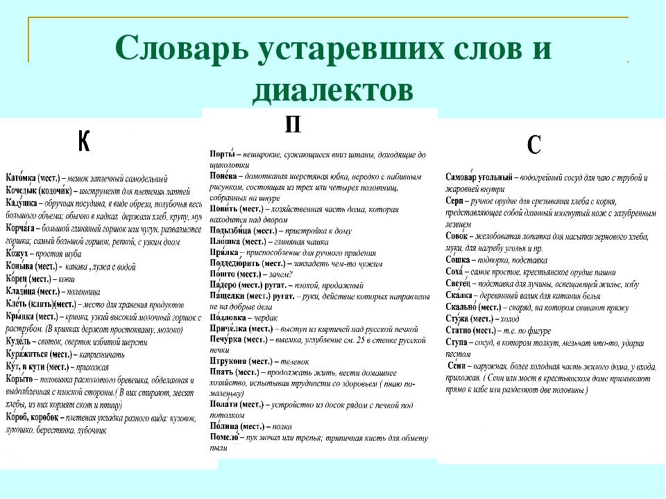Словарь устаревших слов и диалектов