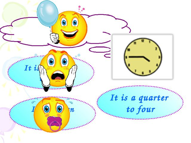 It is a quarter to five It is fifteen to four It is a quarter to four