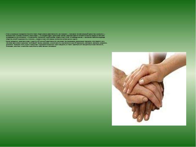 К числу моральных принципов относятся такие общие начала нравственности, как...