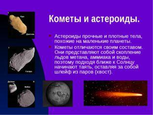 Кометы и астероиды. Астероиды прочные и плотные тела, похожие на маленькие пл