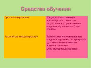 Простые визуальныеВ ходе учебного занятия используются: простые визуальные и