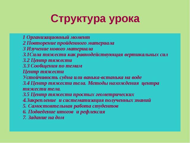 Структура урока 1 Организационный момент 2 Повторение пройденного материала 3...