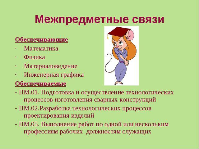 Межпредметные связи Обеспечивающие Математика Физика Материаловедение Инженер...