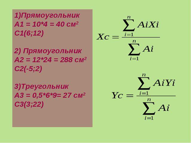 1)Прямоугольник А1 = 10*4 = 40 см2 С1(6;12) 2) Прямоугольник А2 = 12*24 = 288...