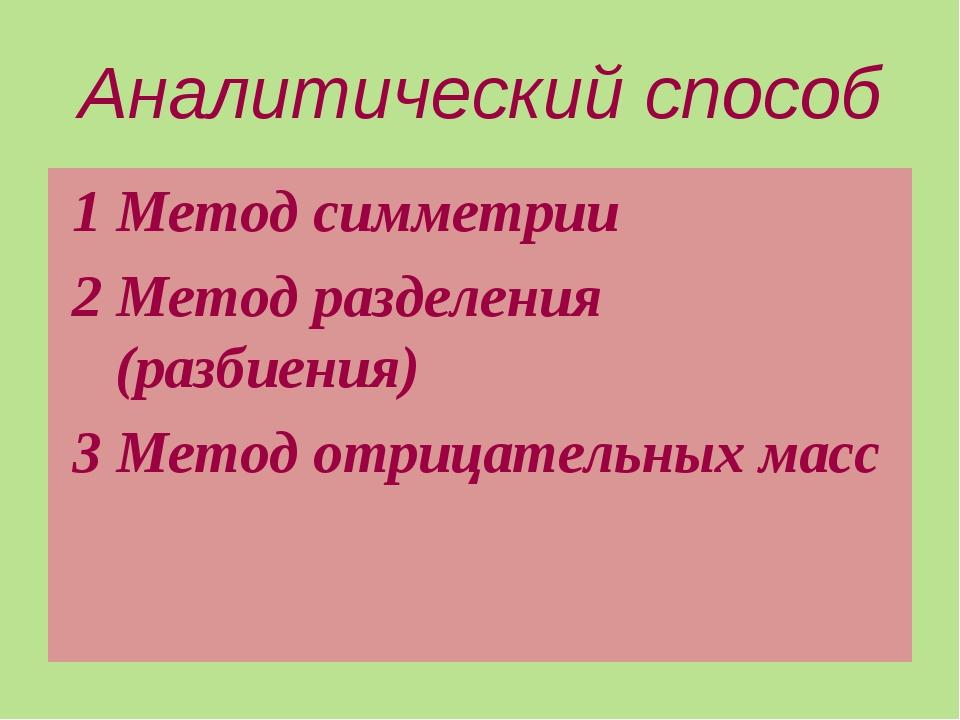 Аналитический способ 1 Метод симметрии 2 Метод разделения (разбиения) 3 Метод...