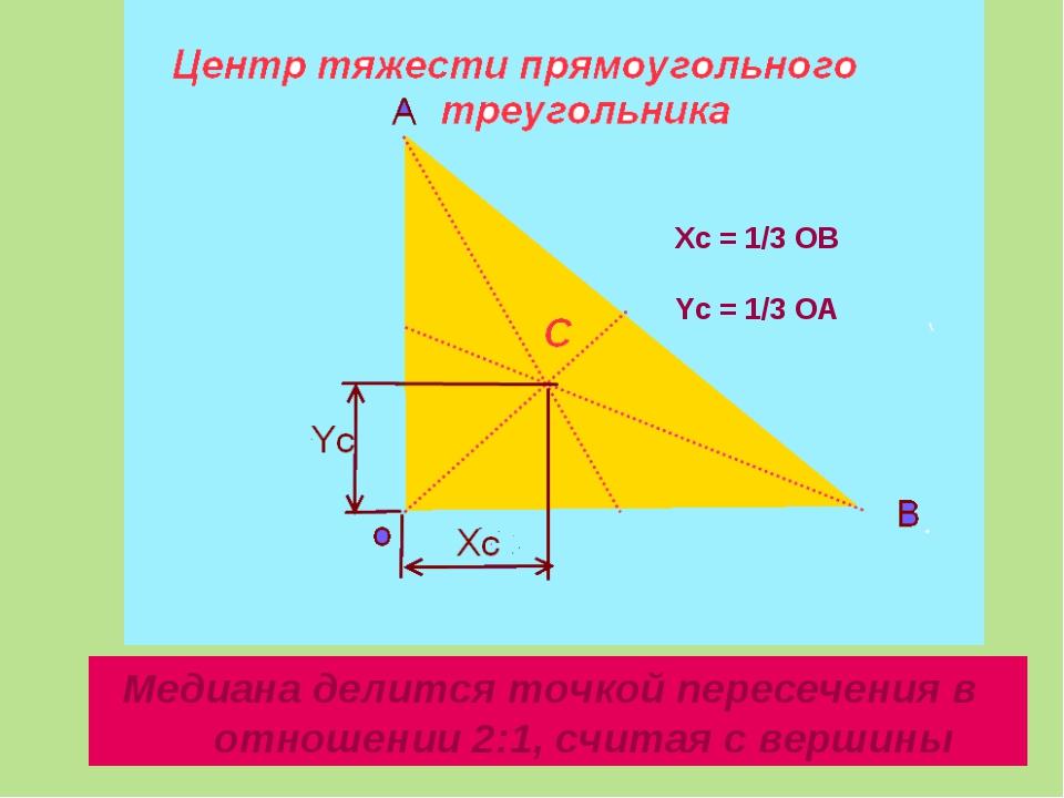 Медиана делится точкой пересечения в отношении 2:1, считая с вершины Xc = 1/...