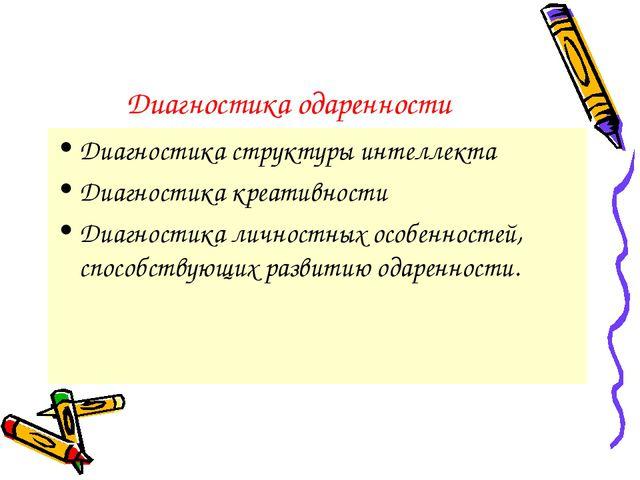 Диагностика одаренности Диагностика структуры интеллекта Диагностика креативн...