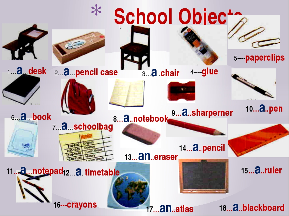 School Objects 1…a…desk 2…a…pencil case 3…a..chair 4----glue 5----paperclips...
