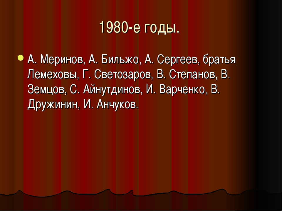 1980-е годы. А. Меринов, А. Бильжо, А. Сергеев, братья Лемеховы, Г. Светозаро...