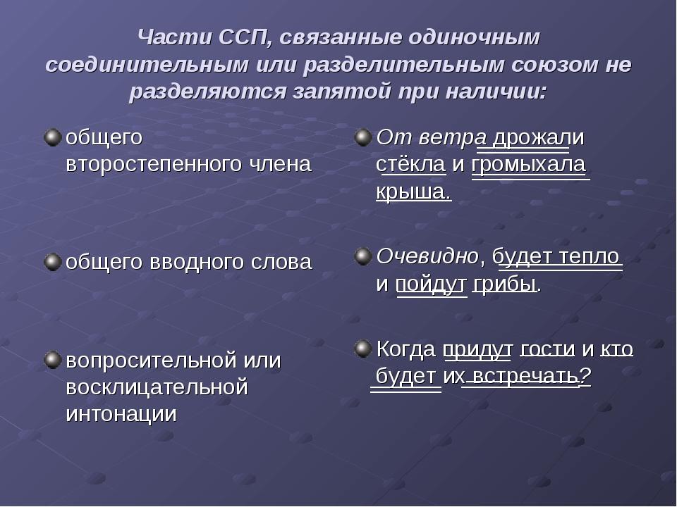 Части ССП, связанные одиночным соединительным или разделительным союзом не ра...