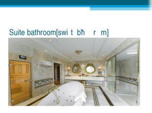 Suite bathroom[swiːt ˈbɑːθrʊm]