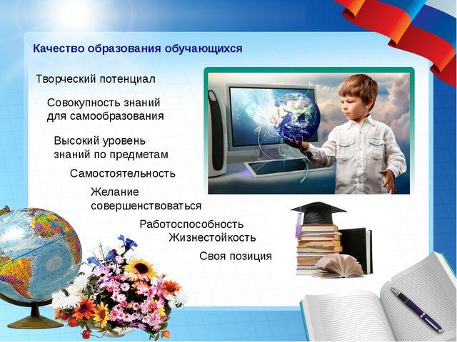 Качество образования обучающихся Творческий потенциал Совокупность знаний дл...