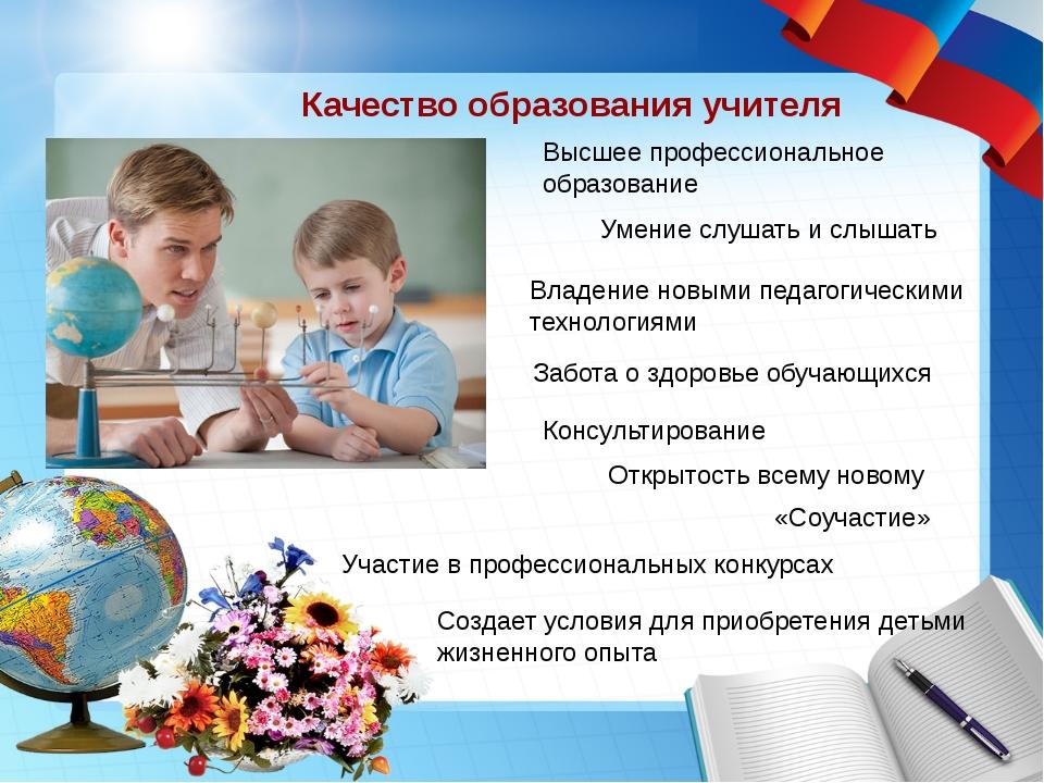 Качество образования учителя Высшее профессиональное образование Умение слуша...