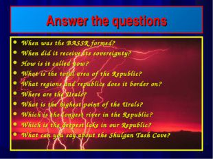 Answer the questions When was the BASSR formed? When did it receive its sover
