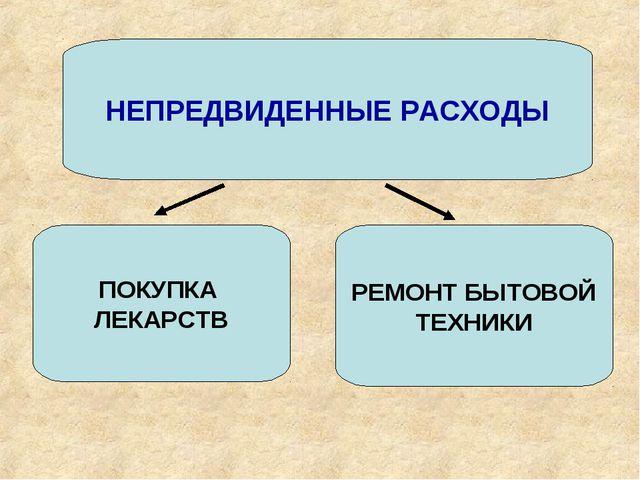 НЕПРЕДВИДЕННЫЕ РАСХОДЫ ПОКУПКА ЛЕКАРСТВ РЕМОНТ БЫТОВОЙ ТЕХНИКИ
