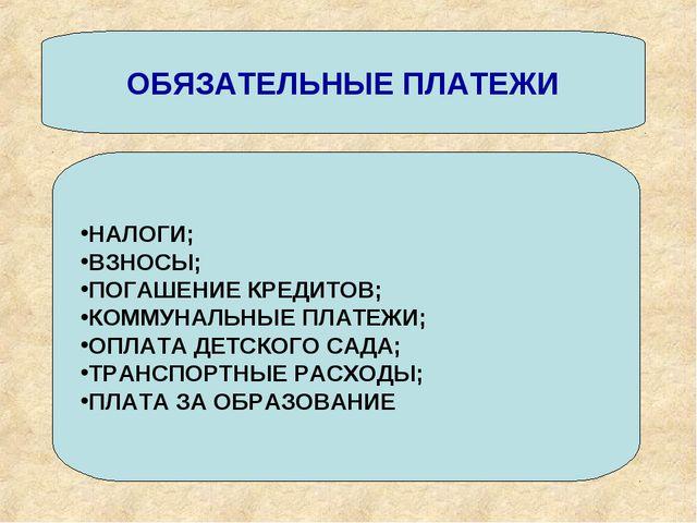 ОБЯЗАТЕЛЬНЫЕ ПЛАТЕЖИ НАЛОГИ; ВЗНОСЫ; ПОГАШЕНИЕ КРЕДИТОВ; КОММУНАЛЬНЫЕ ПЛАТЕЖИ...