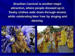 Brazilian Carnival is another major attraction, where people dressed up in fl