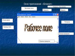 Окно приложения «Блокнот» Заголовок окна Строка меню Границы окна Стрелка про