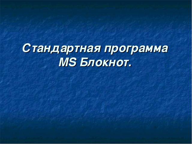 Стандартная программа MS Блокнот.
