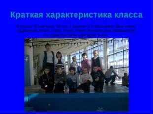 Краткая характеристика класса В классе 10 учеников. Из них 4 девочки и 6 маль