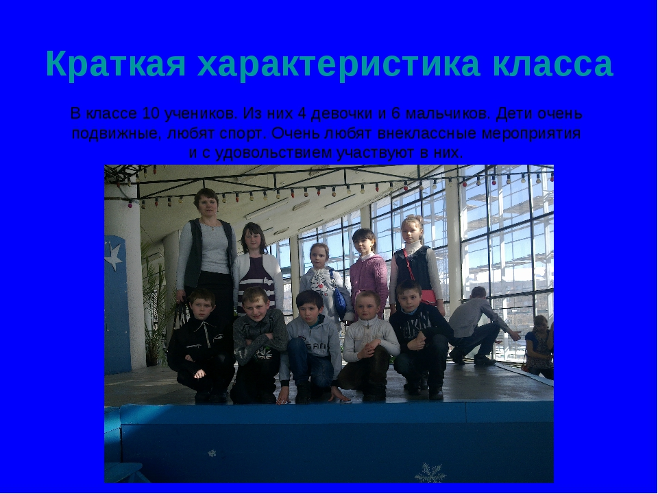 Краткая характеристика класса В классе 10 учеников. Из них 4 девочки и 6 маль...