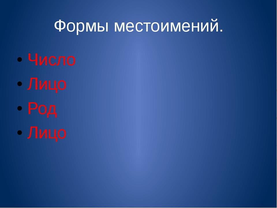 Формы местоимений. Число Лицо Род Лицо