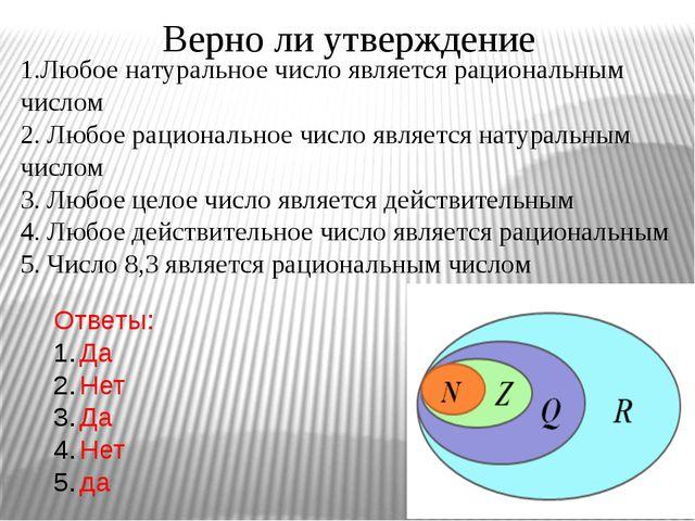 Верно ли утверждение 1.Любое натуральное число является рациональным числом 2...