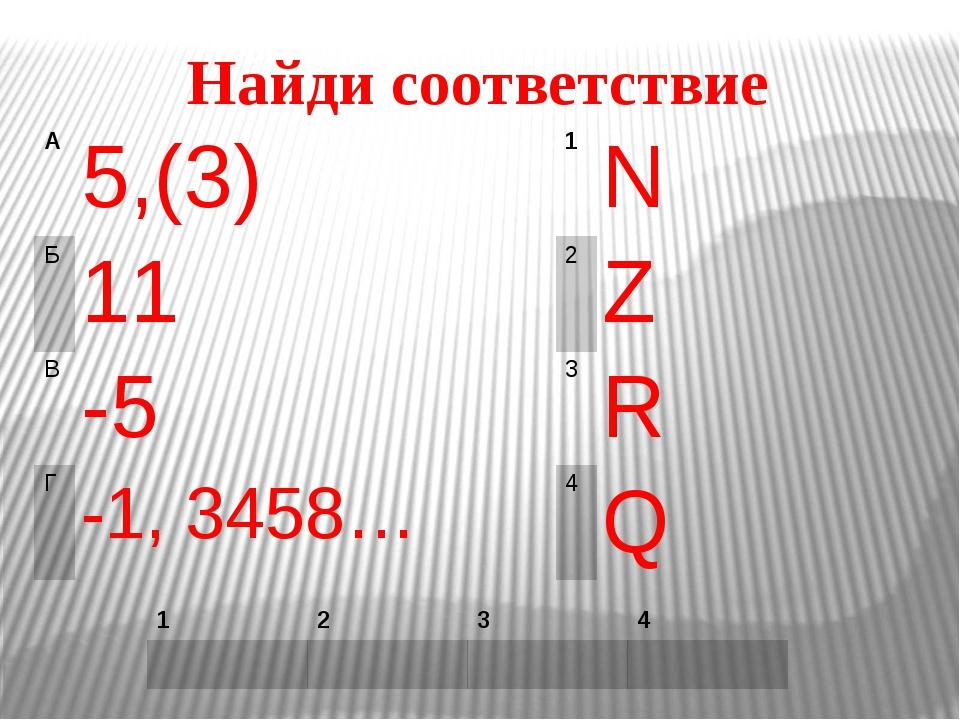 Найди соответствие 5,(3) N 11 Z -5 R -1, 3458… Q 1 2 3 4 1 2 3 4 A Б В Г