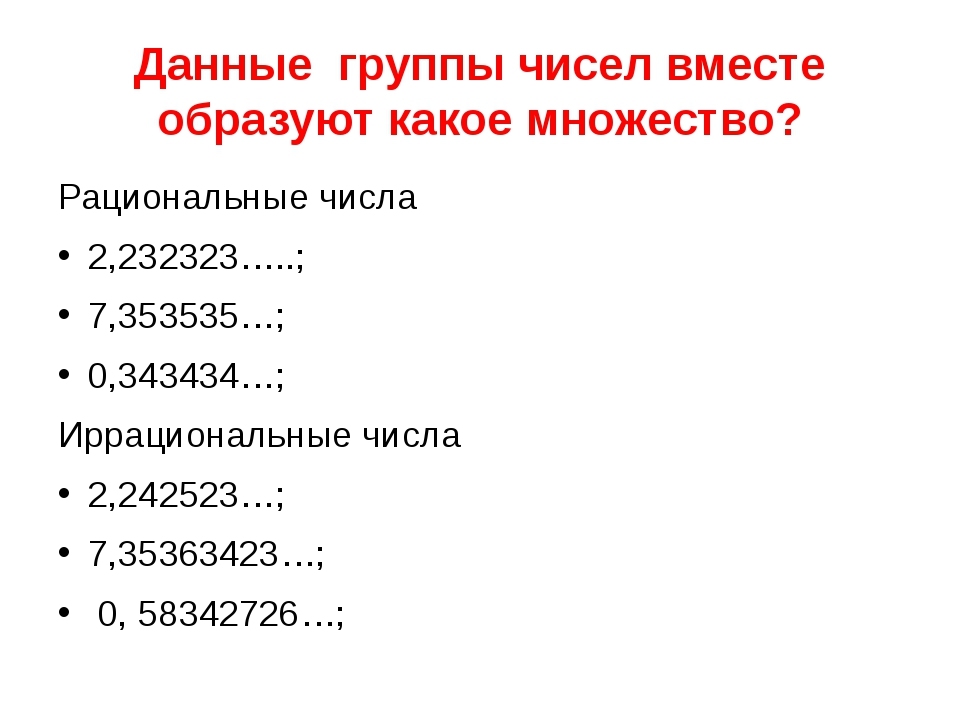Данные группы чисел вместе образуют какое множество? Рациональные числа 2,232...