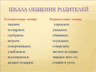 Положительные эмоции: хвалим; поощряем; одобряем; целуем; сопереживаем; улыба