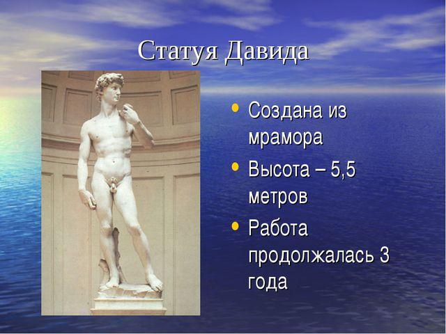 Статуя Давида Создана из мрамора Высота – 5,5 метров Работа продолжалась 3 года