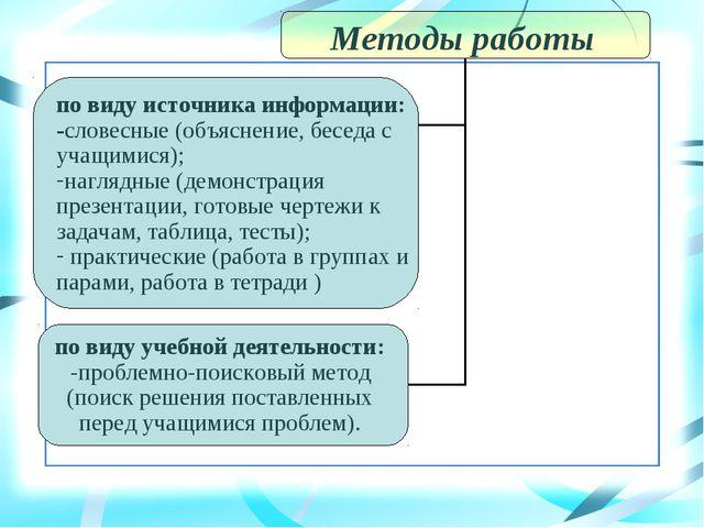 Методы работы по виду источника информации: -словесные (объяснение, беседа с...