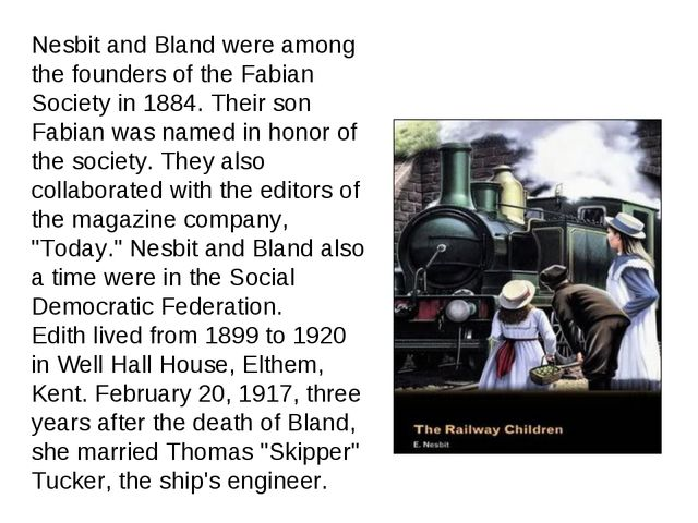 Nesbit and Bland were among the founders of the Fabian Society in 1884. Their...