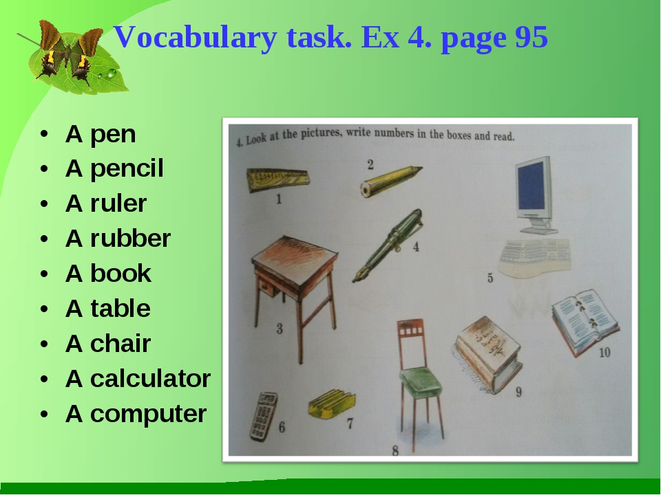 A pen A pencil A ruler A rubber A book A table A chair A calculator A compute...