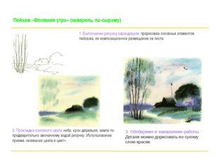 Пейзаж «Весеннее утро» (акварель, по-сырому) 1. Выполнение рисунка карандашом