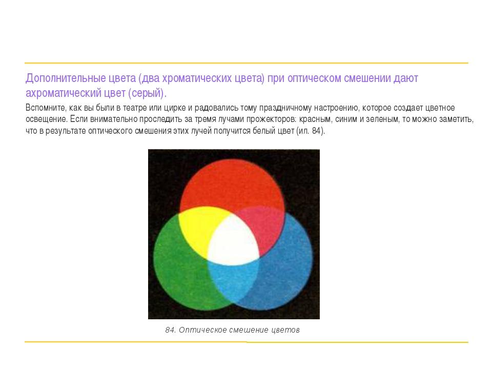 Дополнительные цвета (два хроматических цвета) при оптическом смешении дают а...