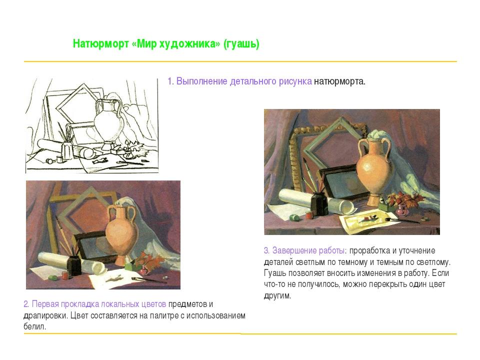Натюрморт «Мир художника» (гуашь) 1. Выполнение детального рисунка натюрморт...