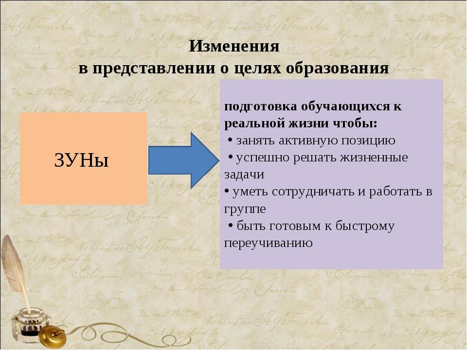 Изменения в представлении о целях образования ЗУНы подготовка обучающихся к...