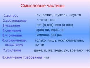 Смысловые частицы 1.вопрос ли, разве, неужели, неужто 2.восклицание 3.указани