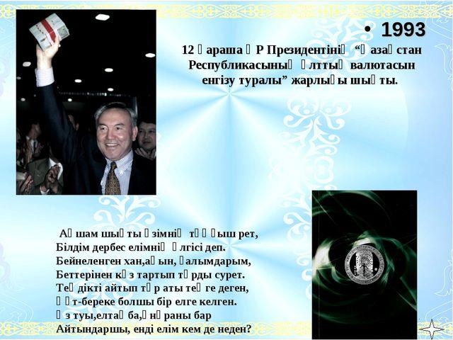 """12 қараша ҚР Президентінің """"Қазақстан Республикасының ұлттық валютасын енгізу..."""