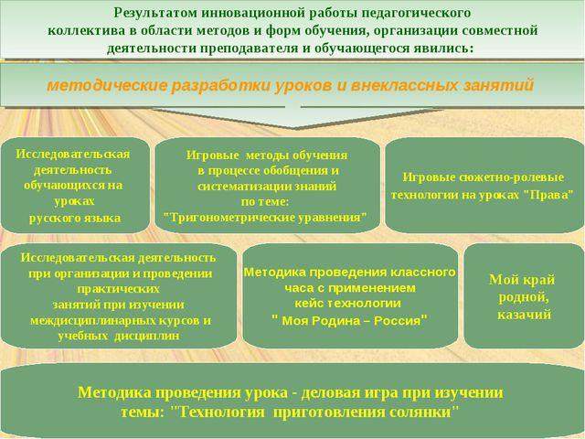 Результатом инновационной работы педагогического коллектива в области методо...