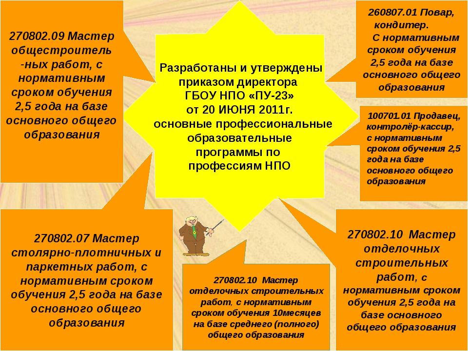 Разработаны и утверждены приказом директора ГБОУ НПО «ПУ-23» от 20 ИЮНЯ 2011...