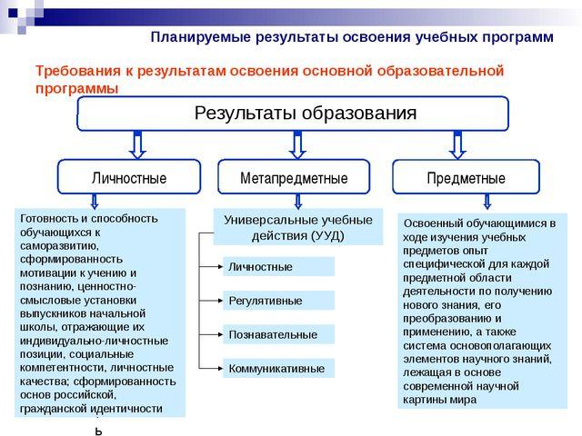 Требования к результатам освоения основной образовательной программы Результа...