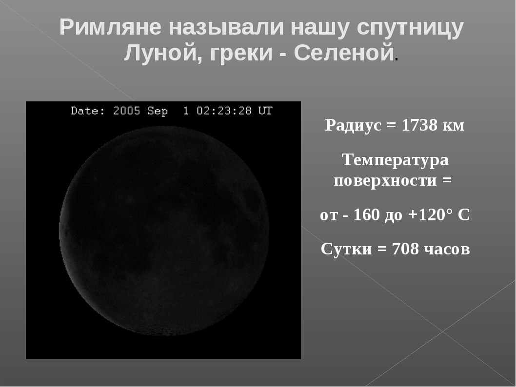 Радиус = 1738 км Температура поверхности = от - 160 до +120° С Сутки = 708 ча...