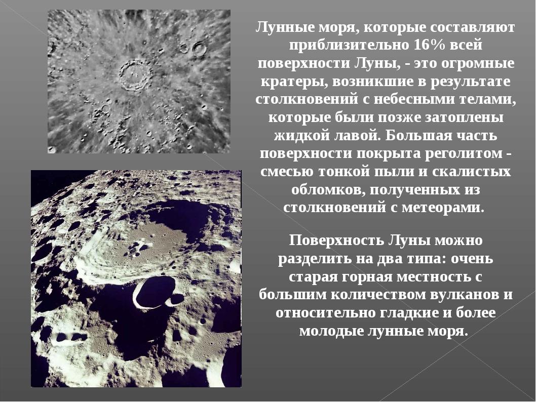 Лунные моря, которые составляют приблизительно 16% всей поверхности Луны, - э...