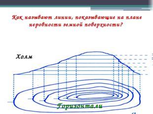Как называют линии, показывающие на плане неровности земной поверхности? Холм